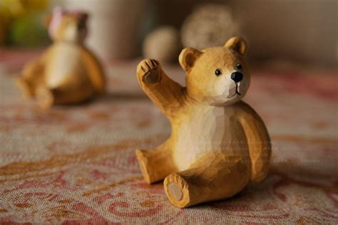 home interior bears wood teddy carved crafts animals garden