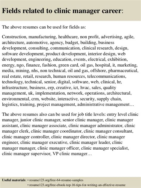 Clinic Manager Resume by Top 8 Clinic Manager Resume Sles