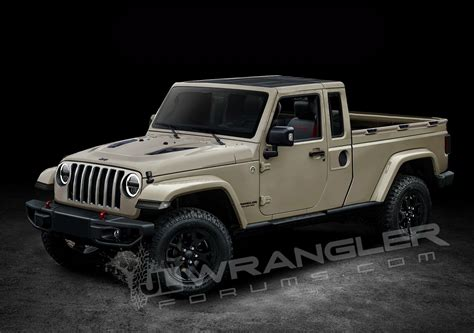 jeep models jeep wrangler pickup truck rendered based on spyshots two