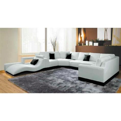 canap 233 panoramique cuir blanc avec m 233 ridienne achat vente canap 233 sofa divan cuir bois