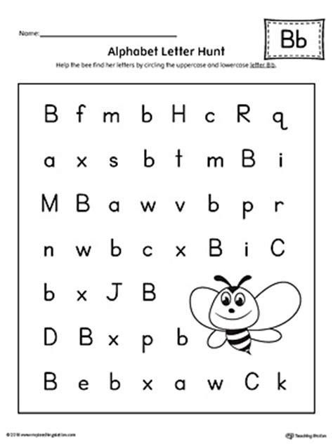alphabet letter hunt letter b worksheet