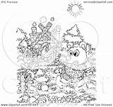 Fox Outline Coloring Chasing Animals Royalty Clipart Rf Illustration Bannykh Alex 2021 sketch template
