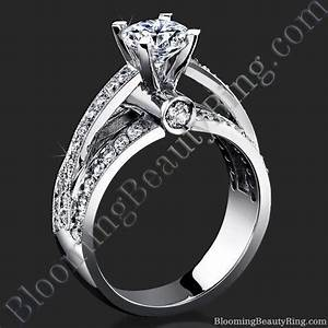 emerging pave center band with connecting round bar With connect wedding band and engagement ring
