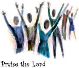 Art picture of people praising the lord by raising their hands