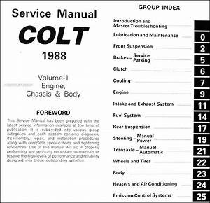 1988 Colt Repair Shop Manual Original 2 Volume Set