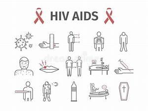 Hiv Aids Symptoms  Treatment  Line Icons Set  Vector