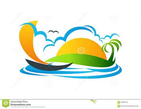 kaos baju summer sailboat logo yacht symbol vacation vector icon