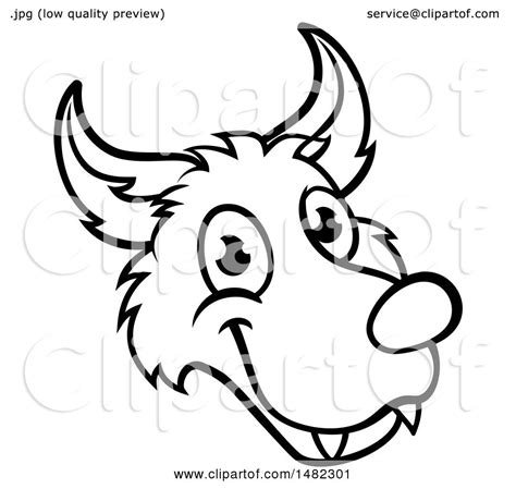 Clipart of a Black and White Wolf Face Mascot from the