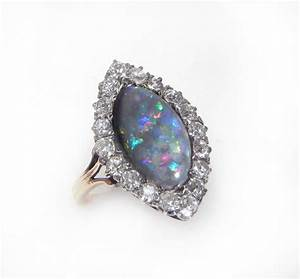 antique engagement ring opal and diamond engagement by With opal and diamond wedding rings