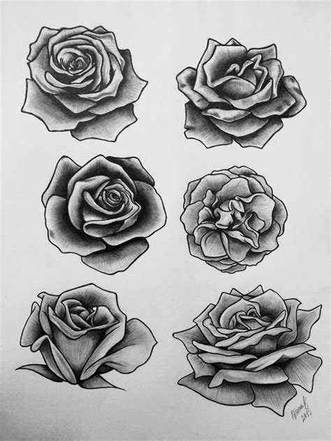 Grey And Black Roses Tattoos Designs