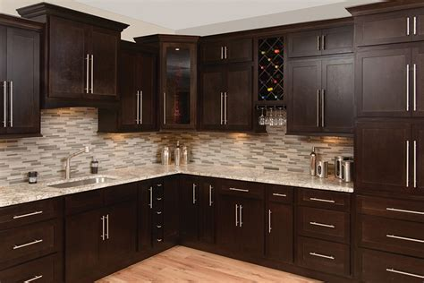Faircrest Espresso Shaker Kitchen Cabinets  Kitchen