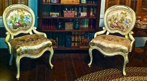 stunning pair of vintage french provincial armchairs by