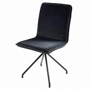 Chaise Velours Gris : chaise en velours gris et m tal noir ellipse maisons du monde ~ Teatrodelosmanantiales.com Idées de Décoration