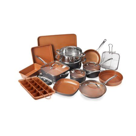 gotham steel  piece    kitchen cookware bakeware set   stick ti cerama copper