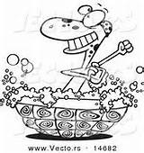 Outline Turtle Cartoon Coloring Shell Bathing Bath Bathtub Vector Tub Baby Suds Royalty Designs Vecto Rs sketch template