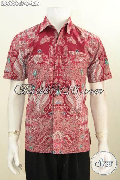 kemeja batik tulis warna merah motif bagus dan berkelas pakaian batik lelaki muda size s