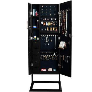 Black Standing Jewelry Armoire by Baxton Studio Vittoria Black Finish Wood Square Foot Floor