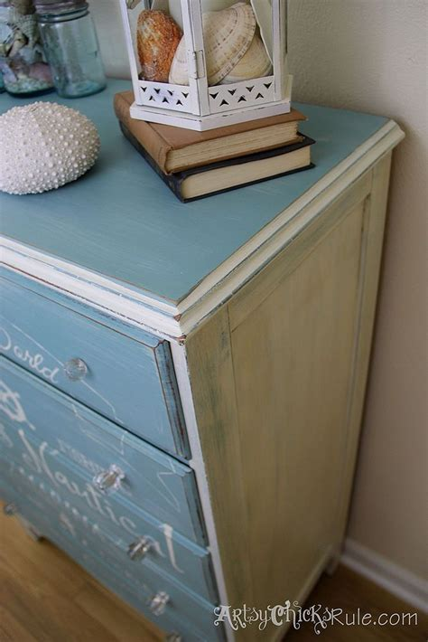 Hometalk   Coastal Themed Thrift Store Dresser/Graphics