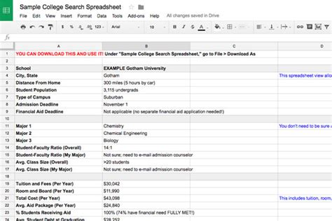 college selection spreadsheet college search spreadsheet template collegexpress