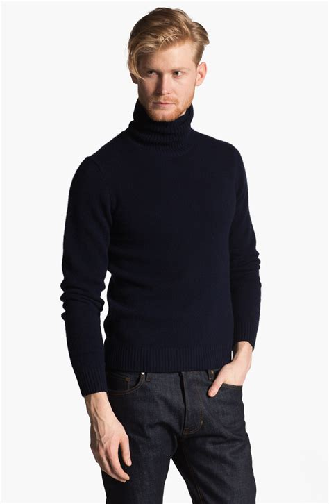 mens wool turtleneck sweater ami wool turtleneck sweater in blue for navy lyst