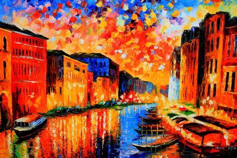 Splendid Venice Beautiful Vibrant Cityscape Oil Painting