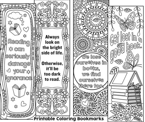 bookmarks to color set of 4 coloring bookmarks with quotes plus the colored