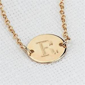initial necklace gold disc necklace personalized With engraved letter necklace