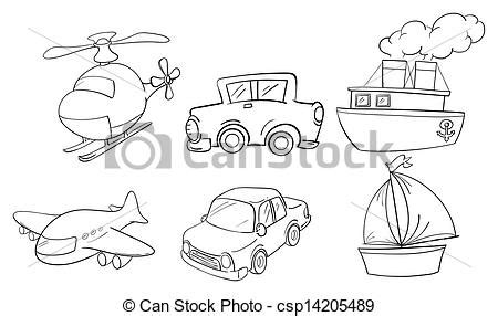 land transportation clipart black and white vector of doodle design of land air and water