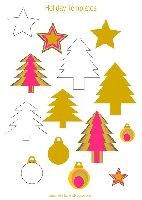 printable holiday templates tree star  bauble