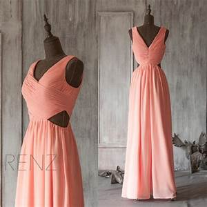coral bridesmaid dress open back peach wedding dress With peach wedding dress