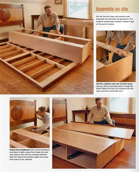 bed storage plans woodarchivist