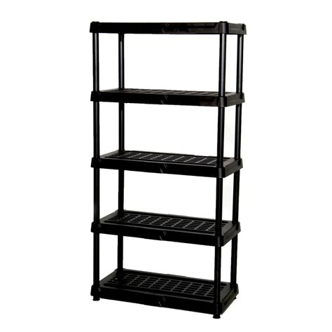 plastic shelving units shop blue hawk 72 in h x 36 in w x 18 in d 5 tier plastic freestanding shelving unit at lowes com