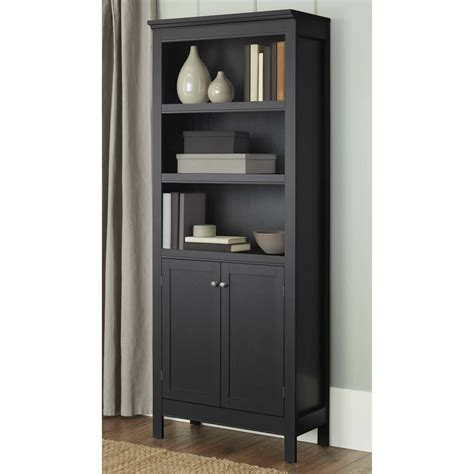 Bookcase With Doors Black by Bookcase With Doors 3 Shelf Storage Organizer Vertical