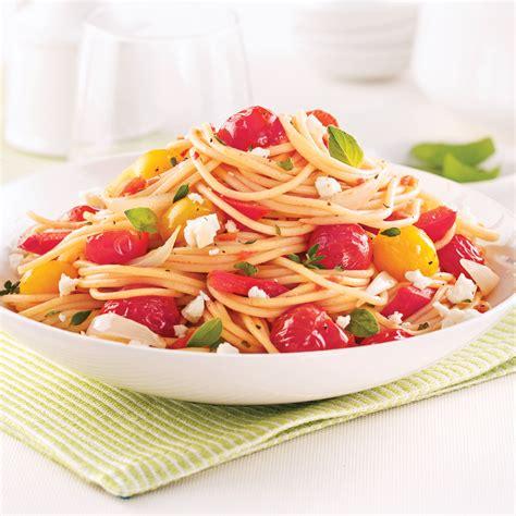 spaghettis aux tomates cerises et poivrons rouges recettes cuisine et nutrition pratico