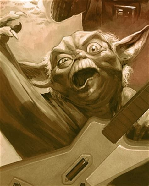 yoda rocks   guitar hero  star wars art geektyrant