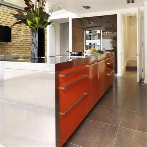 orange kitchen island be inspired by a bold chocolate and orange kitchen ideal 1219