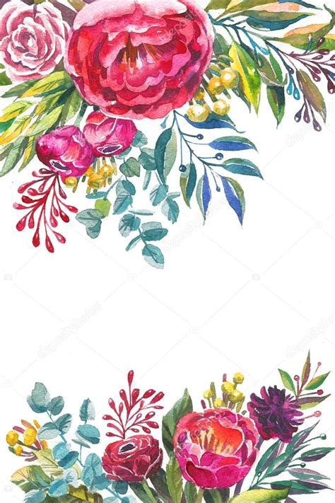 watercolor flowers frame template stock photo