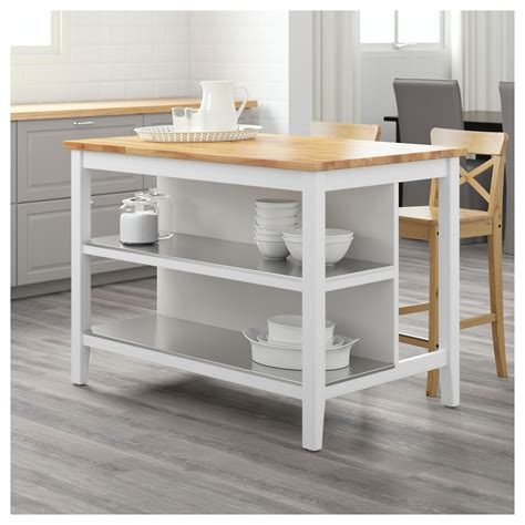 white kitchen cart island stenstorp kitchen island white oak 126x79 cm ikea