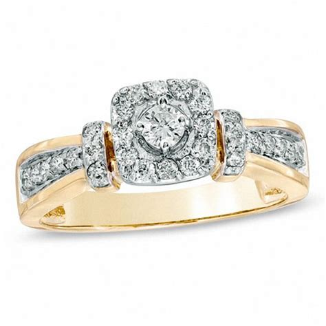 1 3 ct t w collar engagement ring in 10k gold wedding zales