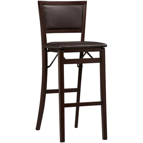 Folding Dining Chairs Walmart by Linon Keira Padded Back Folding Bar Stool 30 Quot Espresso