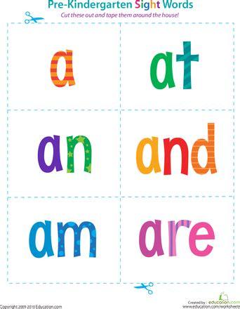 Prekindergarten Sight Words A To Are  Kindergarten Sight Words, Pre Kindergarten And Worksheets