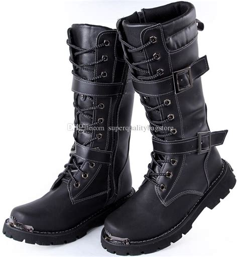 New Arrival Men Knee High Boots Black Buckles Lace