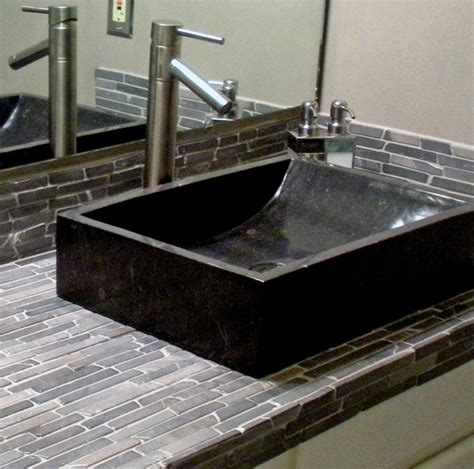 black marble trough vessel sink black finger tile
