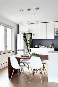 Table De Cuisine Blanche : la cuisine blanche et bois en 102 photos inspirantes ~ Teatrodelosmanantiales.com Idées de Décoration