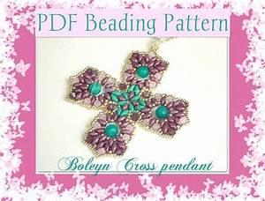Diy Beading Pattern Boleyn Cross Pendant With Superduo