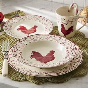 16-Piece Rooster Toile Dinnerware Set from Through the