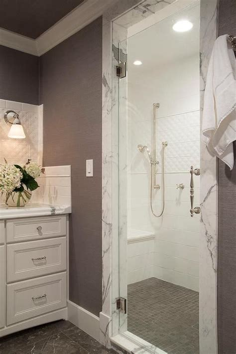 white  gray bathroom features  walk  shower filled