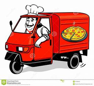 Pizza delivery van stock vector. Illustration of male ...