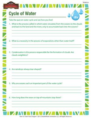 cycle of water science worksheet for 4th grade