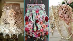 DIY Shabby Chic Style Lampshade Decor Ideas Home Decor